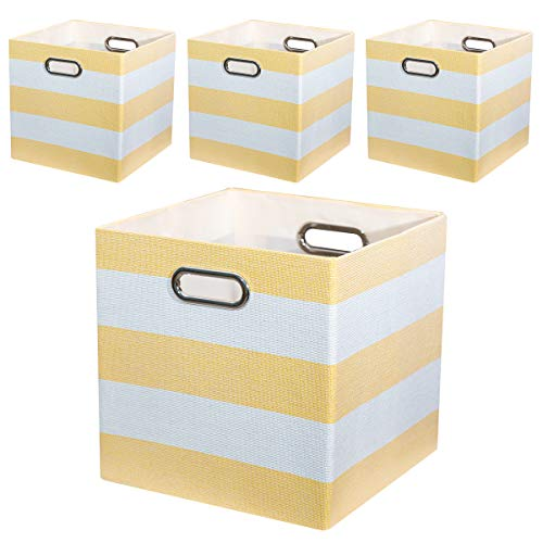 (Posprica Closet Organizer -11×11 Collapsible Fabric Storage Cubes Container Baskets Boxes, 4 Cubeicals Bins Drawers,Yellow Beige)