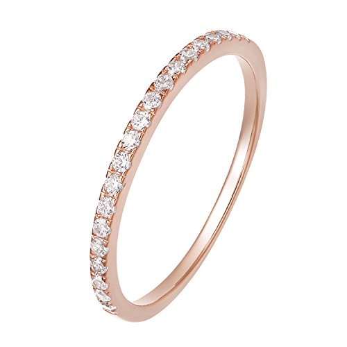 EAMTI 2mm 925 Sterling Silver Wedding Band Cubic Zirconia Half Eternity Stackable Engagement Ring (Rose Gold, -