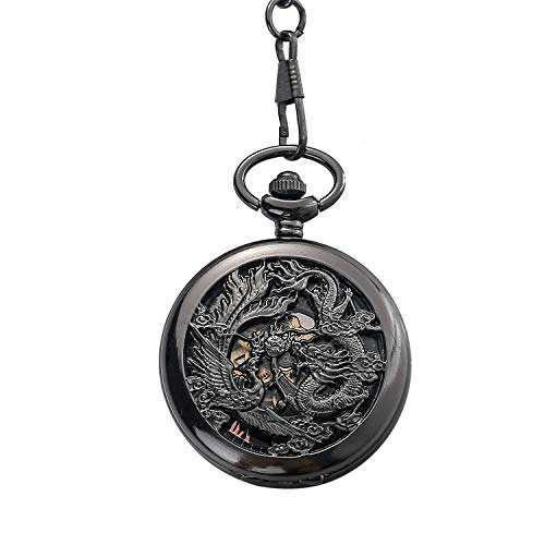 Beauty7 Vintage Black Hand Wind Mechanical Hollow Skeleton Analog Dial Pocket Watch with Chain Lucky Flying Dragon Shenlong Phoenix Full Filigree Engraved Case Transparent Exhibition Back