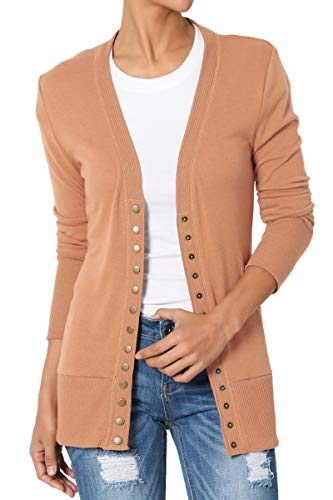 TheMogan Women's Snap Button V-Neck Long Sleeve Knit Cardigan Egg Shell S