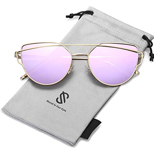 SOJOS Cat Eye Mirrored Flat Lenses Street Fashion Metal Frame Women Sunglasses SJ1001 with Gold Frame/Purple Mirrored Lens