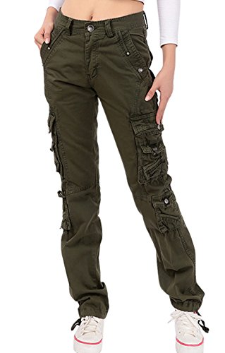 (chouyatou Women's Casual Camouflage Multi Pockets Cargo Pants (Small, 73Army))