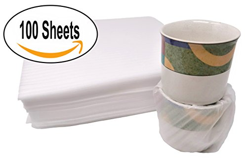 "- 100 Count - Cushion Foam WRAP Sheets - 12"" x 12"" Safely Wraps and Protects Dishes, Plates, Glasses, Cups, Furniture Legs Or Edges, Supplies - for All Purpose Protection, Storage, and Moving"
