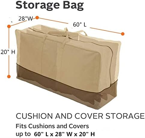 Beige boyspringg Patio Cushion Storage Bag Extra Large 420D Oxford Fabric Waterproof Dust Proof Outdoor Zippered Christmas Tree Storage Bags 60 L x 28 W x 20 H