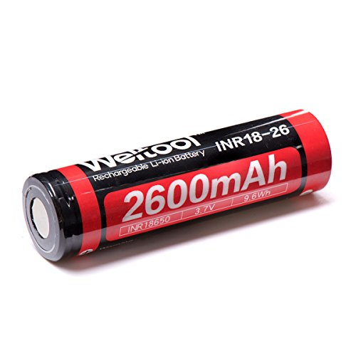 (Weltool 18650 2600mAh Rechargeable Lithium Ion Battery 3.7V Li-ion INR18-26 Cylindrical Flat Top Batteries)