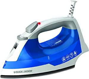 BLACK+DECKER IR03V Easy Steam Iron Nonstick Soleplate with Steam Surge & Spray Mist Function and Easy View Anti-Drip Water Tank, Small Travel Iron, Clothing Iron