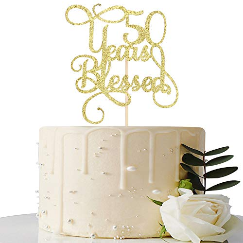 Gold Glitter 50 Years Blessed Cake Topper - for 50th Wedding Anniversary / 50th Anniversary Party / 50th Birthday Party Decorations - Gold Anniversary Cake