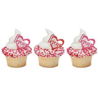 Love Heart Valentine's Day Cupcake Picks - 24 pc