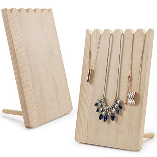 (MyGift Set of 2 Natural Wood Adjustable-Length Necklace Holder, Jewelry Display)