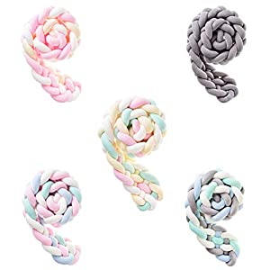 Braided Crib Bumper Knotted Braided Plush Nursery Cradle Decor Newborn Crib Soft Pillow Baby Sleeping Pillow 6 Strands,78inch,Pink+Yellow+White+Green