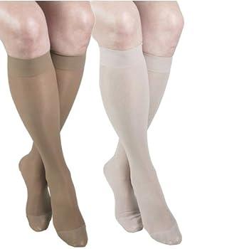 ITA-MED Sheer Knee Highs, Compression(20-22 mmHg), Beige/Nude, X-Large, 2 Count