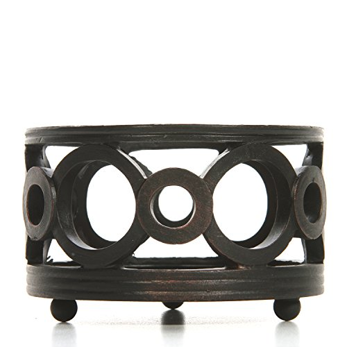 (Hosley Black Resin Pillar Holder 4.5 Inch Diameter Ideal Gift for Weddings Party Special Occasion or as a Candle Holder W1)