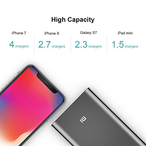 Portable Charger, Xiaomi Mi Slim Power Bank Pro 10000mAh, 18W Fast Charging Aluminum Battery Pack for iPhone X 8 7 6 Samsung Galaxy S9 S8 S7 Android