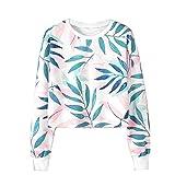 Womens Sweatshirt, Teens Girls Boho Leaves Printed Crewneck Long Sleeve Crop Top Pullover Tops (XXL, White)