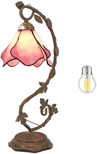 Tiffany Lamp W6H21 Inch LED Bulb Included Pink Stained Glass Table Desk Reading Lampshade Accent Antique Bedside End Table Desk Light S701 WERFACTORY LAMPS Living Room Bedroom Study Art Crafts Gifts