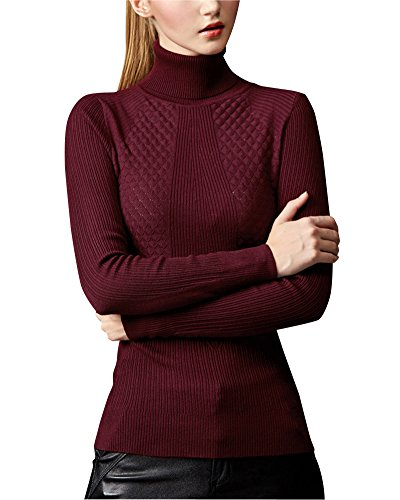 Slim Femme Pull Hiver Chaud Roul Col 0aaUT4v