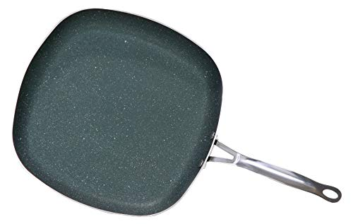 OrGREENiC Diamond Granite 12 Inch Square Pan Cookware with Non-stick Ceramic Coating Fry Skillet, Saute Pan (12 inch square, No Lid)