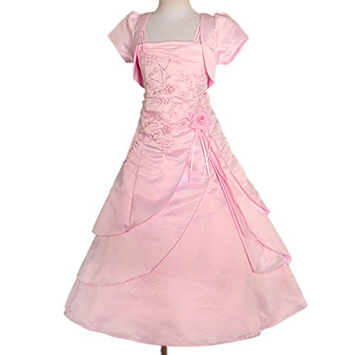 Dressy Daisy Girls' Beading Satin Occasion Dresses Wedding Flower Girl Dress with Bolero Size 2-3T Pink