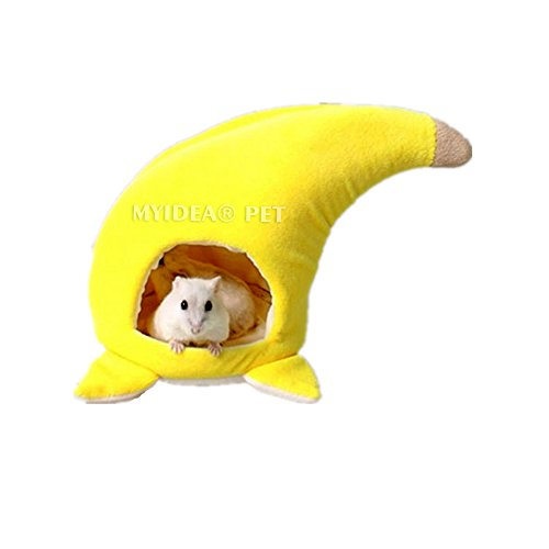 MYIDEA Dwarf Hamster House – Winter Warm Fruit Sleeping Bed for Hamster Valentines Day Gift (L, Banana Nest)