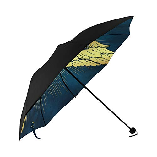 Umbrella Gold Cherub Cute Winged Curly Smiling Underside Printing Compact Travel Sun Umbrella Parasol Anti Uv Foldable Umbrellas With 95% Uv Protection For Women Men Lady ()