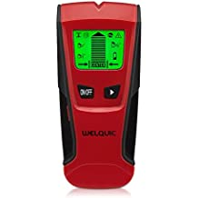 WELQUIC Stud Finder Electric Center-finding with 3-in-1 Metal AC Wires Wood Detector with Backlit LCD Screen and Beeping Signal Alert, Black and Red