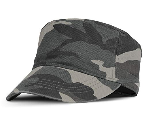 Military Cadet Cap Washed Cotton Twill Plain Low Profile Army Hat with Adjustable Strap Flat Top Baseball Golf Cap for Men Women camo