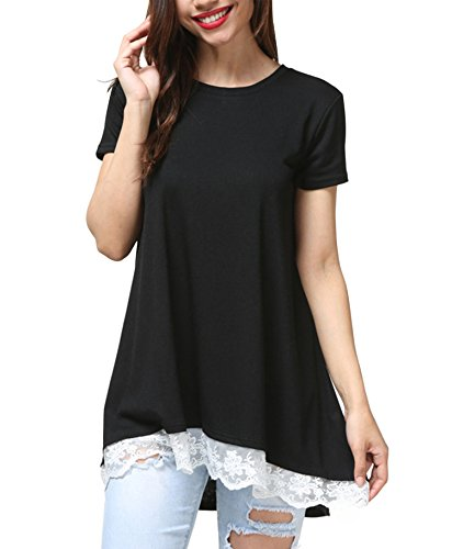 VAYAGER Funny T Shirts For Woman Summer Party Night Loose Waist Blouses Black (Back Cool Movie T-shirt)