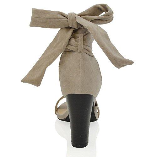 Essex Glam Gamuza Sintética Zapatos de tacón cuadrado con cordones para atar al tobillo Gris Gamuza Sintética