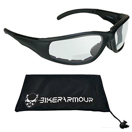 ANSI Z87.1 Motorcycle Riding Clear Lens Bifocal Safety Glasses 2.00 Foam Padded for Men and Women, Free Microfiber Cleaning Case. AIRFOIL/CL/2.0