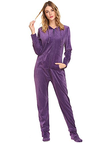HOTOUCH Solid Jumpsuit Non Footed Pajama One Piece For Women Light Purple XL