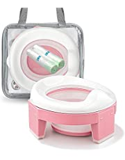 MCGMITT Portable Potty Seat for Kids Travel - Foldable Training Toilet Chair for Toddler Girls with Storage Bags