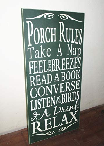 Ced454sy Porch Decor Porch Rules Schild 10x22 Hunter Green and Antique White