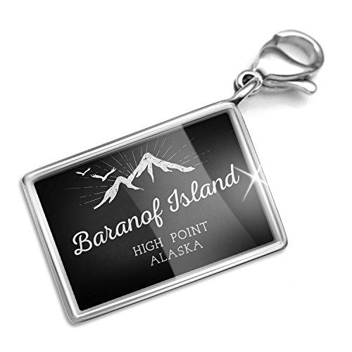 Clip on Charm & Bracelet Set Mountains chalkboard Baranof Island High Point - Alaska Lobster Clasp Baranof Island