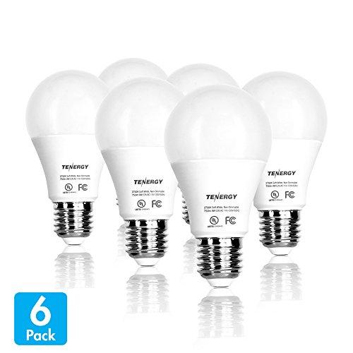 9 Led Bulb ((Pack of 6) Tenergy LED Light Bulb, 60 Watt Equivalent (9W), Soft White (2700K), E26 Medium Standard Base)