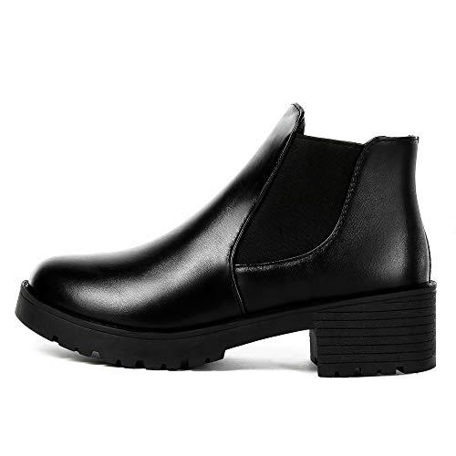 Botines De Punta Alto Plataforma Botas Cortos Zapatos Negro Mujer Mujer Redonda Moto Tacon Para Invierno De Cuero Con EwxIYZ