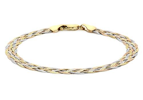 """9ct or 3couleurs 6-Motif à chevrons texturé Bracelet 18cm/7"""""""