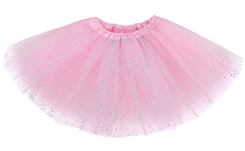 Girl's Princess Layered Dress-Up Tulle Tutu Skirt with Sparkling Sequins, Light Pink, 2-8 -