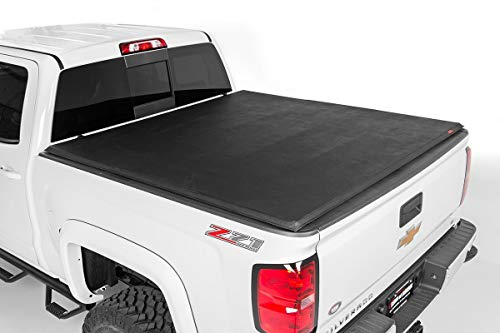 Rough Country - 44214650 - Soft Tri-Fold Tonneau Bed Cover (6.5-foot Bed w/o Cargo Management System) for Chevrolet: 14-18 Silverado 1500 4WD/2WD; GMC: 14-18 Sierra 1500 4WD/2WD