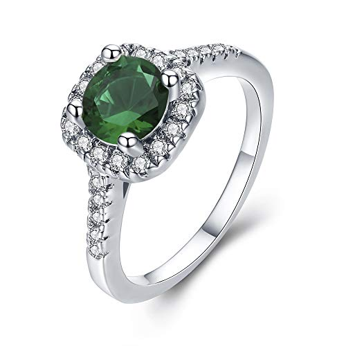 UFOORO Women Fashion Ring Jewelry Stunning Green Cubic Zirconia Engagement Ring (Green-W, 8) (Rings Green Mens Engagement)