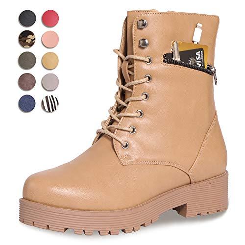 (CINAK Military Combat Boots for Women- Winter Autumn Comfort Outdoor Waterproof Martin Booties Mid-Calf Shoes (10.5B(M) US/CN42/10.2'', Khaki))