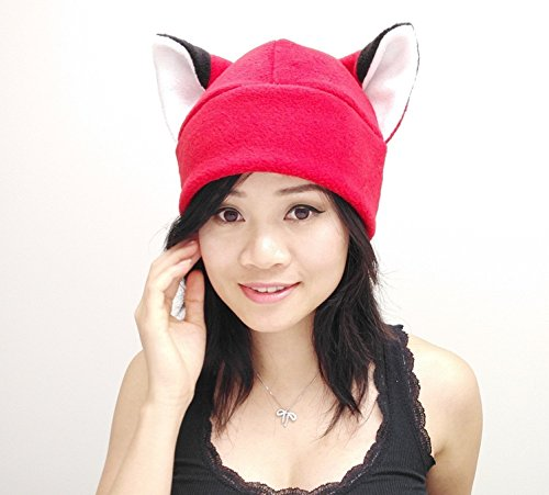 Red fox Ear Naruto Hat Toque Beanie Feline Kitty Kitten Fleece Anime Manga Ski Snowboarding Convention Goth Punk Rave clubbing Costume Cosplay Halloween fox Christmas Gift