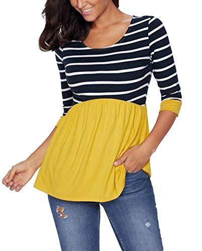 Casual Blouse Tops lgant Pinstripe breal Femme Bouffant Gelb Rond Mode Chemise Mode Manches Trendy Plier Col Printemps 4 Blouse Haut 3 Jeune 6qRZSq