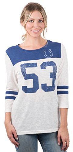 Icer Brands NFL Indianapolis Colts Women's T-Shirt Vintage 3/4 Long Sleeve Tee Shirt, Small, White