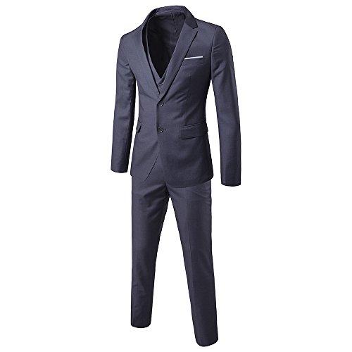 TALITARE Men's 2 Button Single Breasted Slim Fit 3-Piece Suit Party Blazer Business Vest Casual Pants