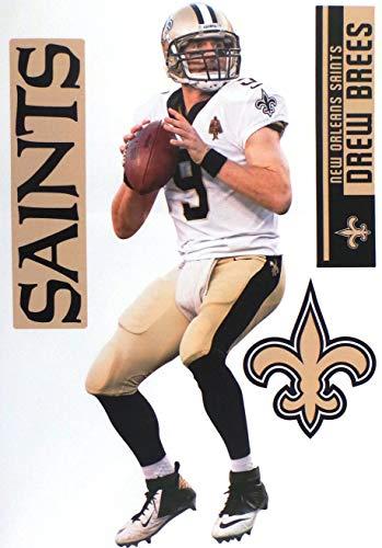 "FATHEAD Drew Brees New Orleans Saints Logo Set Official NFL Vinyl Wall Graphics 17"" INCH"