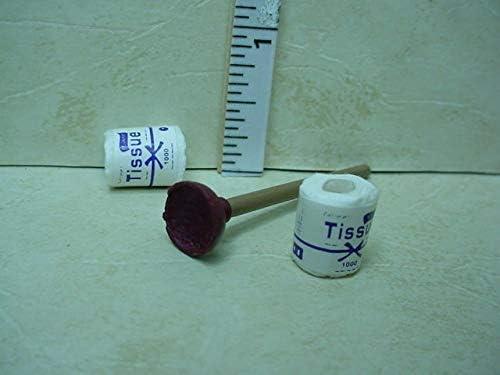#320//153 Dollhouse Miniature Toilet Plunger /& Toilet Tissue 3 Piece Set