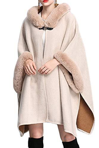 Fiesta Larga Invierno Capa Elegante Fashion Outwear Apricot Con Estolas Ropa Manga Caliente Espesar Chal Saoye Pieles Vestido Mujer De ORAZOx