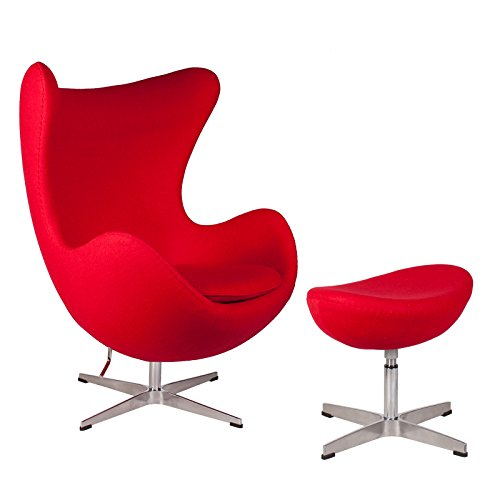 Mid Century Modern Classic Arne Jacobsen Style Egg Replica Lounge Chair With Premium (Red) Cashmere Wool Fabric With Fiberglass Inner Shell and Polished Aluminium Frame With Matching ()