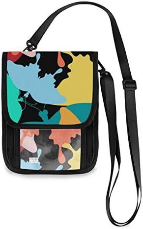 トラベルウォレット ミニ ネックポーチトラベルポーチ ポータブル カラフルな蝶 蝶柄 小さな財布 斜めのパッケージ 首ひも調節可能 ネックポーチ スキミング防止 男女兼用 トラベルポーチ カードケース