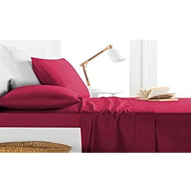 Milano Collection 1000 Thread Count 100% Egyptian Cotton 4 PC Sheet Set (Queen, Burgundy)